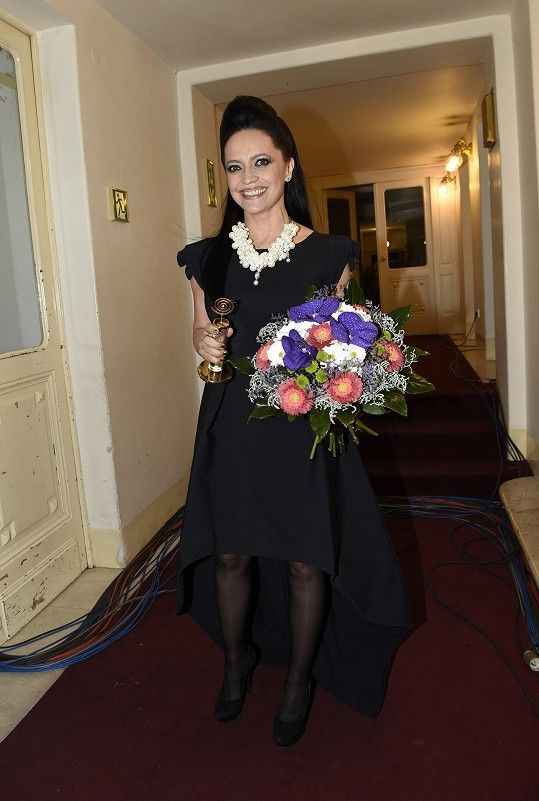 Lucie Bílá tentokrát neoblékla šaty z dílny své dvorní návrhářky Liběny Rochové, ale místo toho zvolila šaty značky Chiara Boni, které doplnila robustním náhrdelníkem a šperky Phillip Plein.