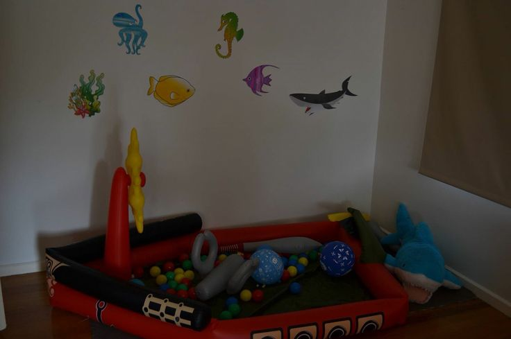 Ball pit pirate ship Kmart inflatable pool Photos nautical under the sea balloons decor fish sharks