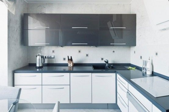 high gloos white and gray kitchen, slab doors