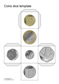 Coins dice template (SB8751) - including Euro, AUS, NZ, USA and SA versions.