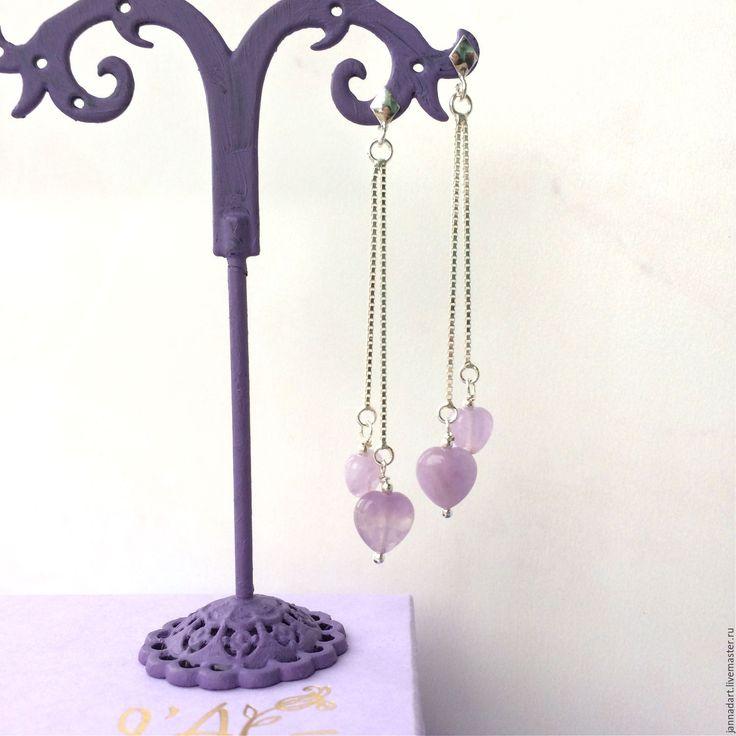 """Купить Серьги """"Два сердца"""" - сиреневый, лавандовый, серьги, серьги с камнями, сережки, серьги с аметистами"""