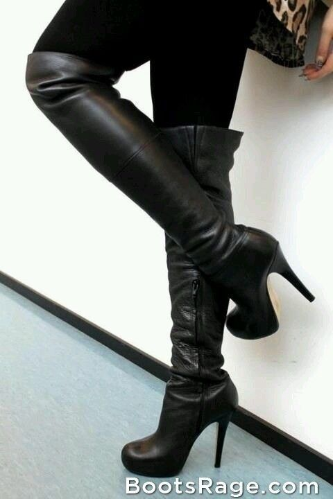 Love these black over the knee high womens leather boots with stiletto high heels! Perfect in fall, winter, and spring 2013 - 2014. Wear with black or leopard ♥ Get this look at @SPARKTREND for $48, click the image to see! #boots #boot