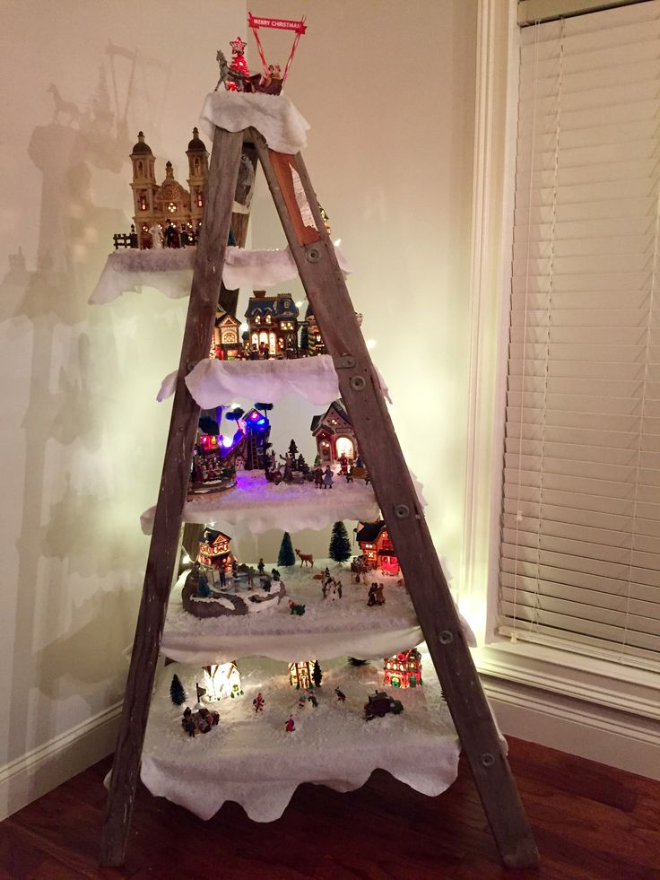 Christmas Village Display on old ladder