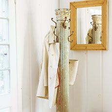 How to Turn a Salvaged Column Into a Coat Tree Reclaimed posts with fluted channels or curvy turnings can find new life as a decorative interior accent
