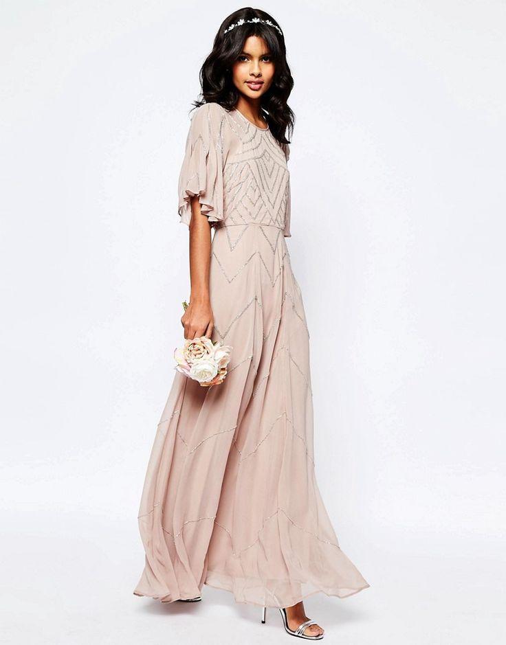 Image 1 ofASOS WEDDING Embellished Flutter Sleeve Maxi Dress