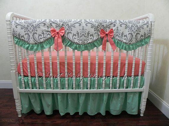 Custom Crib Bedding Set Venetia - Girl Baby Bedding, Coral and Mint Crib Bedding, Bumperless Crib Bedding, Scalloped Crib Rail Cover