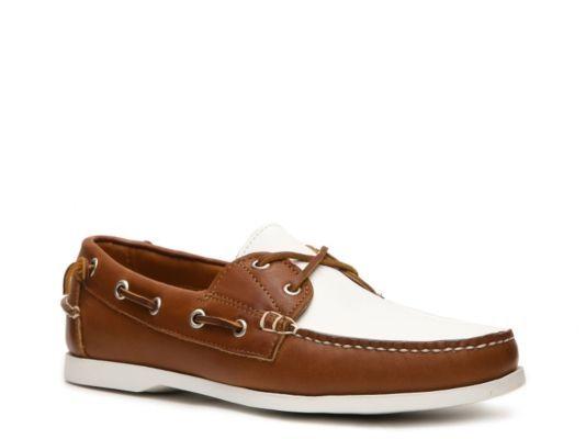 Men's Ralph Lauren Collection Telford II Leather Color Block Boat Shoe - Tan/White