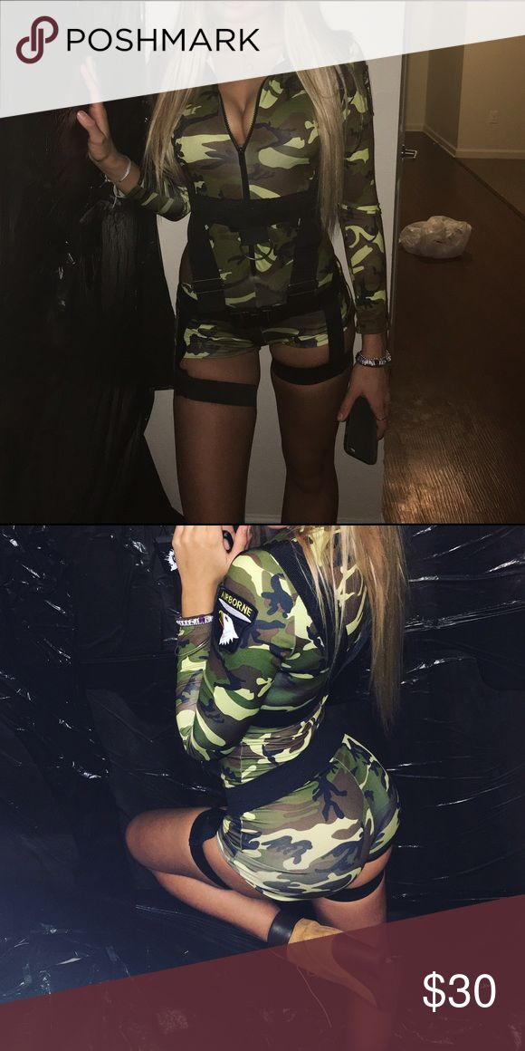 camo army costume camo army halloween costume worn once, had long pants bud cut them off into shorts Other