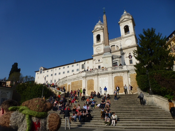 Mini Bear climbs halfway up the Scalinata Trinità del Monti, better known as the Spanish Steps in Rome in April, 2012.
