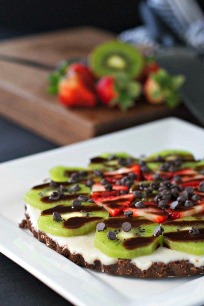 Chocolate Strawberry Kiwi Dessert Pizza ~vegan, gluten free~ A fun fruit filled twist on pizza!