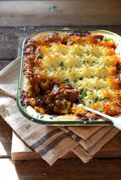 A deeply savoury Shepherd's pie made with succulent chunks of leftover roast lamb and garden vegetables, topped with creamy mashed potatoes.
