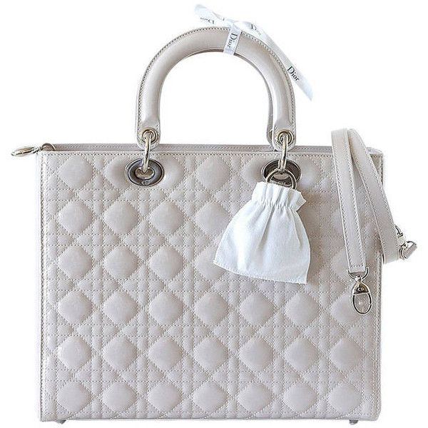 Preowned Christian Dior Lady Dior Chic Pearl Grey Quilted Cannage... (8 520 AUD) ❤ liked on Polyvore featuring bags, handbags, bolsos, borse, dior, grey, quilted purses, shoulder strap handbags, grey purse and handle bag