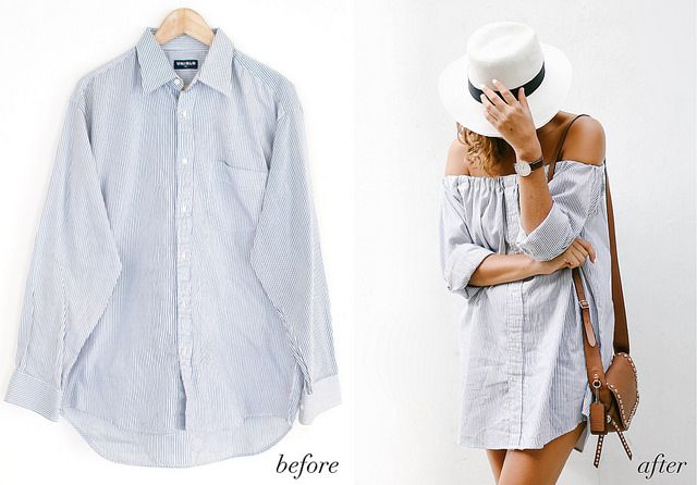 Before & After: Men'S Shirt Into An Off The Shoulder Dress