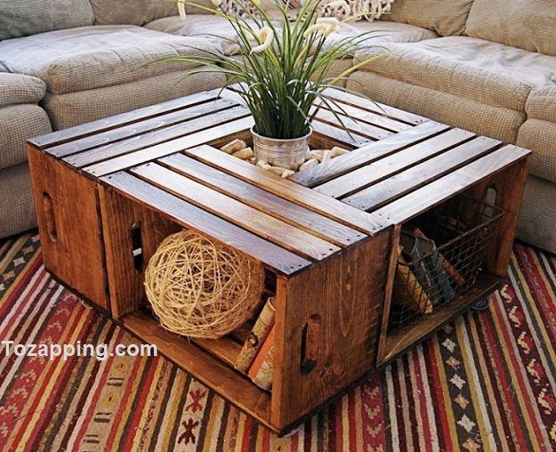Cómo hacer mesa de centro reciclada. Crea un hermosa mesa de centro reciclada ¿Te gustaría transformar unas simples cajas de madera en una bella mesa de