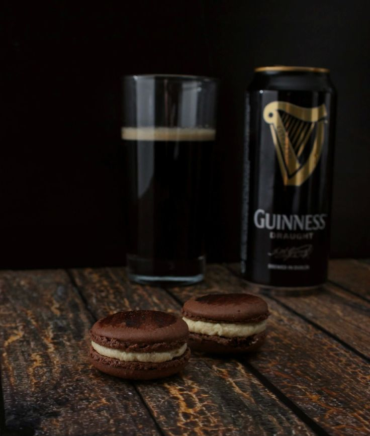 These chocolate Guinness macarons combine chocolate and dark beer flavors for the perfect dark, rich macaron! | The Simple, Sweet Life
