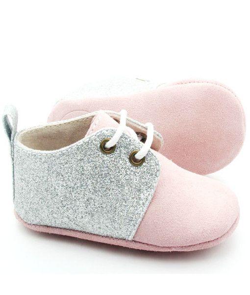 schoentjes voor baby meisje - sparkle rose oxford schoenen