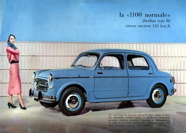 FIAT 1100-il millecento- En 1954, en el Salón de Ginebra, fue presentada la versión Familiar, carrocería que acompañaría a todos los modelos 1100-103 hasta el final de su vida (en Italia, al menos). Y en 1955, en el Salón de París, Fiat presentó una versión mejorada de la berlina tipo B, denominada 1100-103TV, con una mayor relación de compresión y un carburador de doble cuerpo Weber, lo que elevó la potencia a 50 CV.