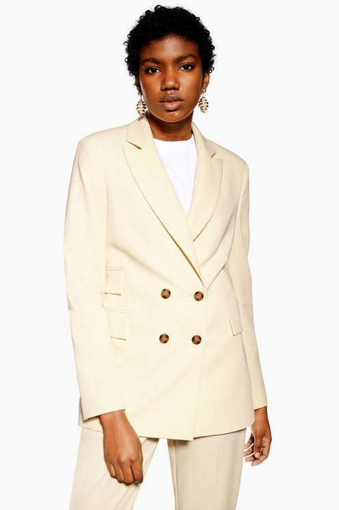 24eab935f6a Cream Double Breasted Blazer - Jackets & Coats - Clothing in 2019 ...