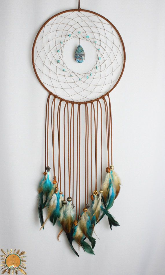 Large Brown and Turquoise Dream Catcher with a Lace Agate Pendant and Turquoise Beads