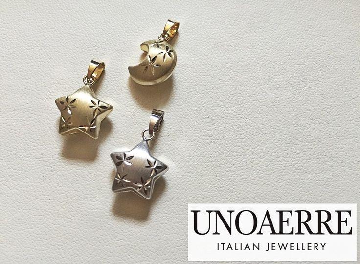 UNOAERRE CHARM 18K GOLD  MOON&STAR  Italian Jewellery