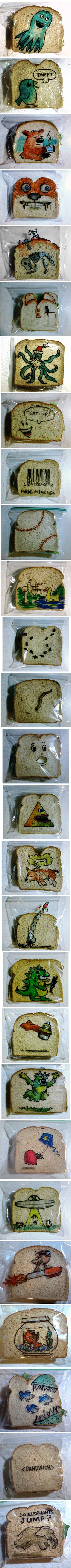 This geeky dad decided to surprise his kids with fun doodles on their sandwich bags. LOVE THIS!!!