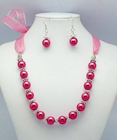 Glass Pearl Jewelry Sets, with Tibetan Silver Beads and Organza Ribbon, DeepPink, Size: Necklaces: about 490mm long; Earrings: about 43mm long