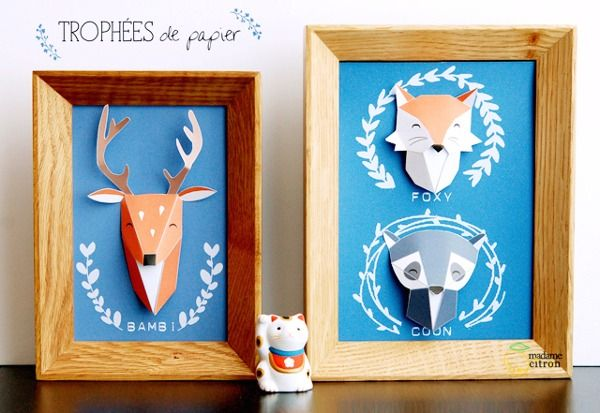 Make It: Framed 3D Paper Taxidermy Art -- With Free Download! » Curbly | DIY Design Community