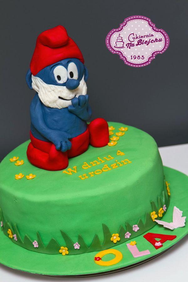 tort w stylu angielskim, tort dla dzieci, tort urodzinowy dla dziecka, tort Smurf, Papa Smurf, Smerfetka, Smerfy, tort bajkowy, postacie z bajek