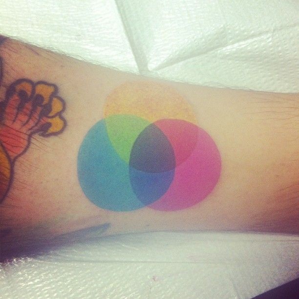 Color Wheel Tattoo Maybe A Globe Outline Beneath It Shows The Importance Of Art