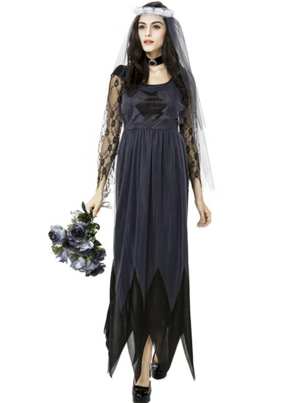 Halloween Women Ghost Bride Wedding Costume Lace Mesh Long Dress Game Cosplay