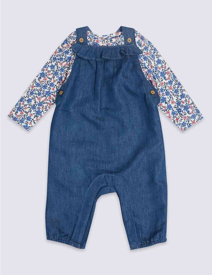 2 Piece Bodysuit & Denim Dungarees Outfit