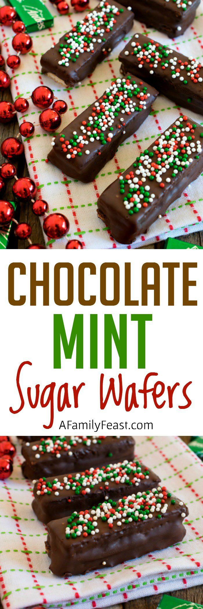 Chocolate Mint Sugar Wafers - Andes mints sandwiched between sugar wafer cookies, then dipped in chocolate. A quick, easy and festive idea for your holiday cookie tray!