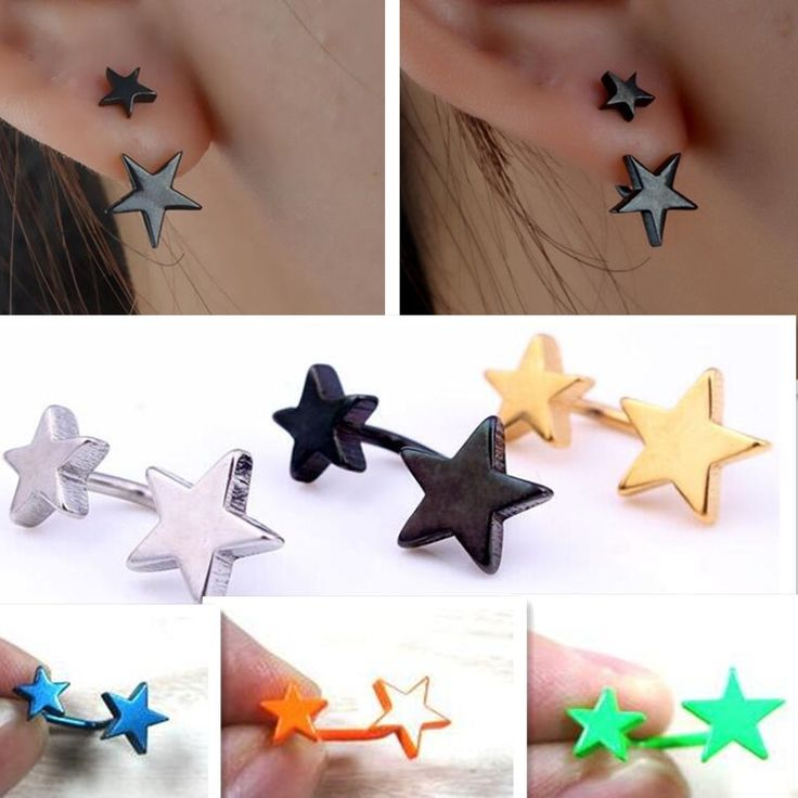 Free Shipping Titanium women stainless steel earrings HOT anti allergy double five pointed star stud earring Male jewelry single