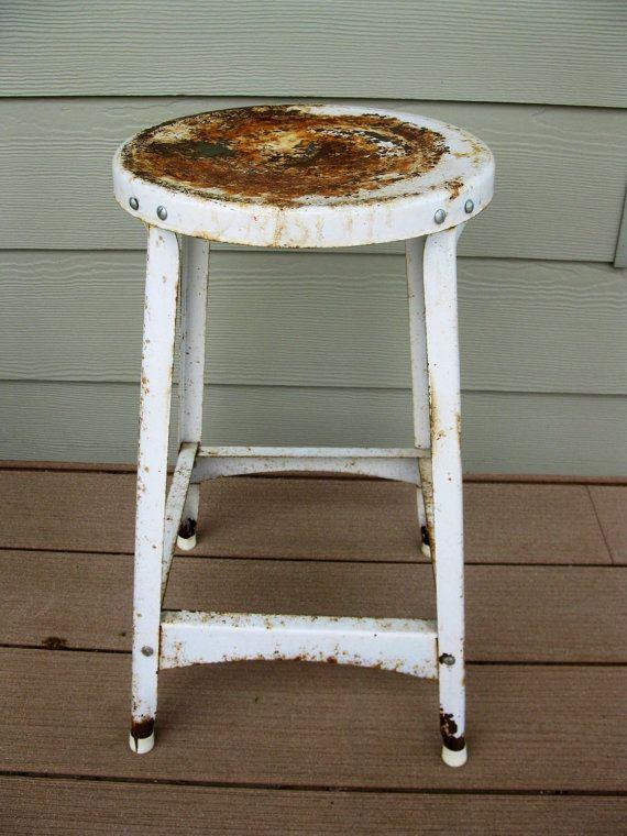 shabby white metal stool garage stool industrial by oakiesclaptrap