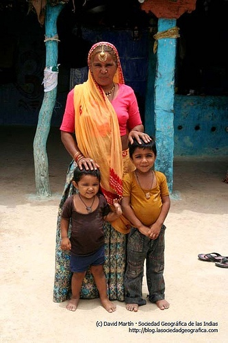 Mother and children in rural India