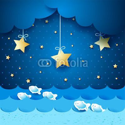 #Seascape #night #vector #stockimage