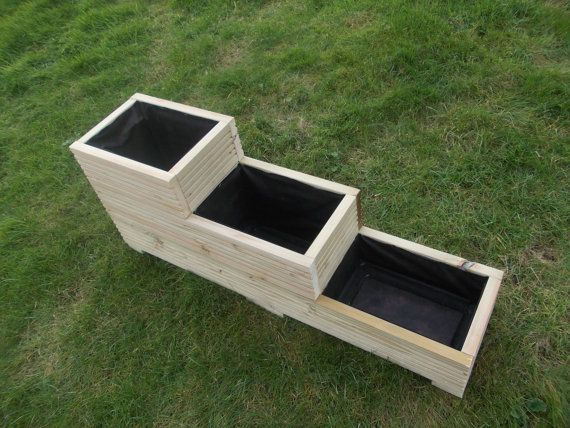Large wooden planter 3-2-1  Made from first quality pressure treated, tanalised timber All screwed together, comes fully assembled and with drainage holes Fully lined Available in 4 standard sizes   Available in 4 standard sizes: 48 x 10 x 6 39.99 40 x 10 x 6 32.99 31 x 10 x 6 26.99 24 x 10 x 6 21.99  Can be made to your measurements :-) Please do not hestitate ask any questions