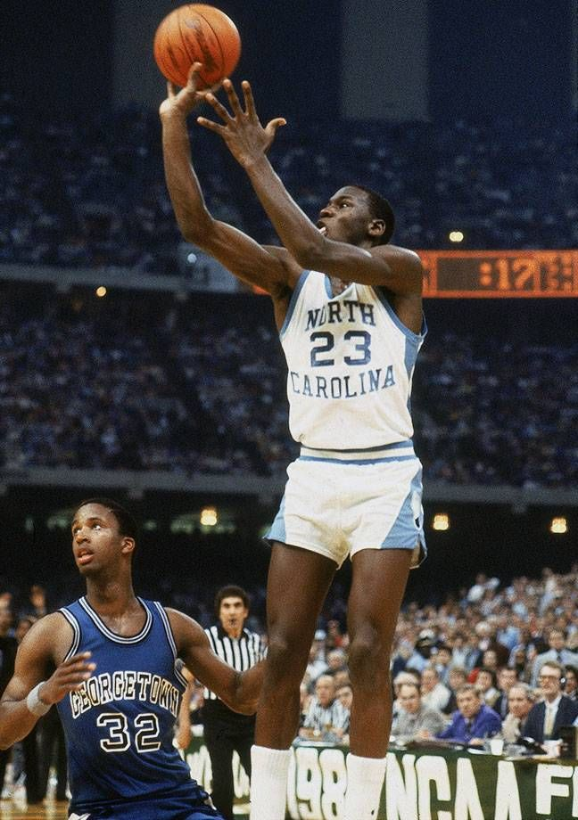 fdfcc742611 Michael Jordan hits the game-winning jumper to beat Georgetown in the 1982  NCAA Championship