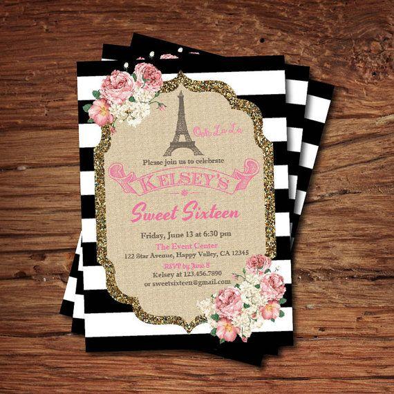 Paris Eiffel torre dulce dieciséis invitación de por CrazyLime