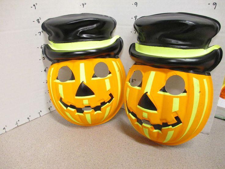 halloween mask vintage 1970s 1 pumpkin top hat jack o lantern monster smiling
