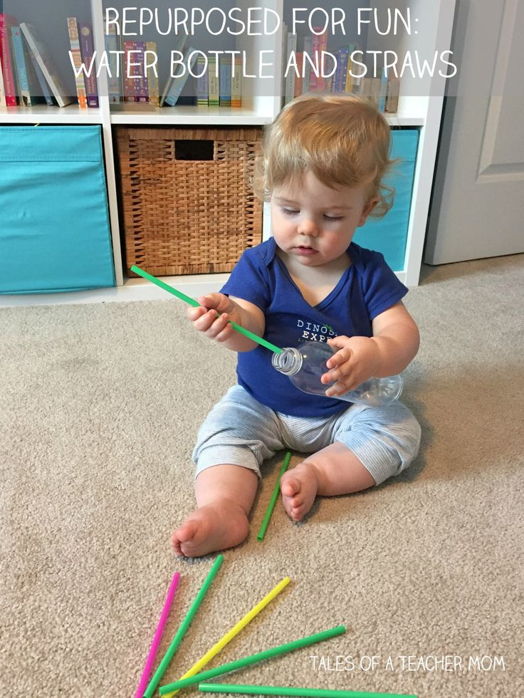 Repurposed for Fun: Water bottle and straws activity for one year olds