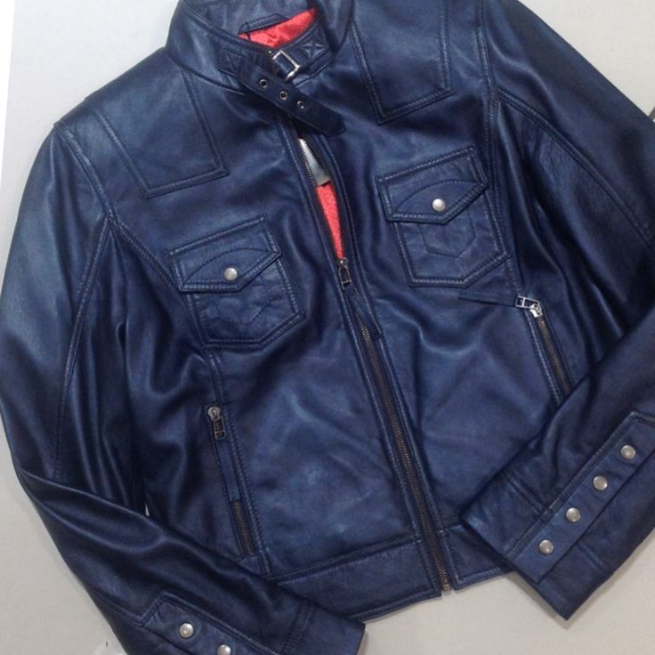 Navy genuine leather jacket at #Nicci