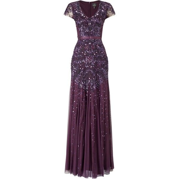 Adrianna Papell Beaded Cap Sleeve Dress, Currant ($375) ❤ liked on Polyvore featuring dresses, v-neck maxi dresses, purple maxi dress, purple dress, sheer maxi dress and short-sleeve maxi dresses