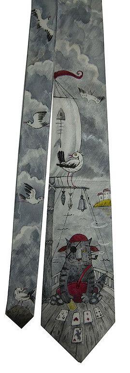 """Галстуки, бабочки ручной работы. Ярмарка Мастеров - ручная работа. Купить Галстук """"Кот-пират"""". Handmade. Галстук, смешной галстук"""