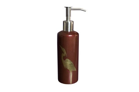 Heron Pattern Soap/Lotion Holder in Marsala colour. #marsala