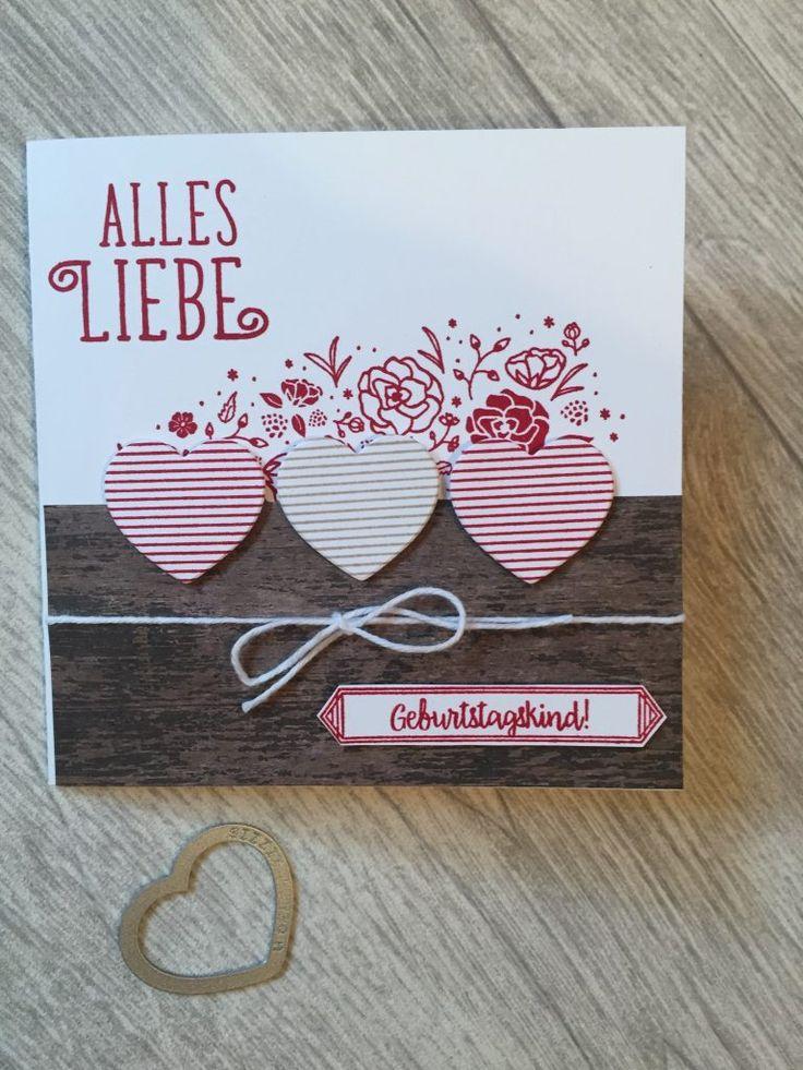 Eine wahrhaft bayerische Geburtstagskarte. Ich finde die Herzen toll!