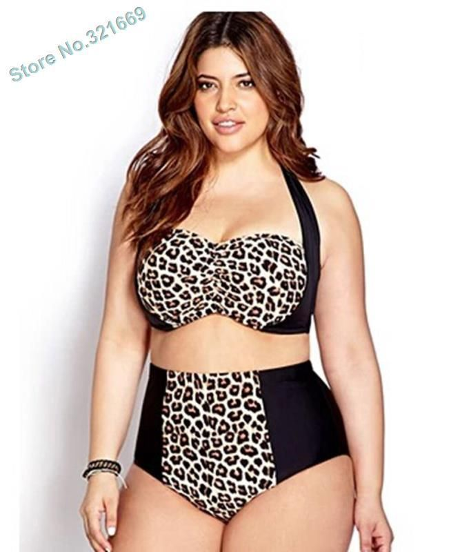 Plus size leopard high waist bikini patchwork bikini plus size high waist swimwear leopard swimsuit two piece bathing suit #Affiliate