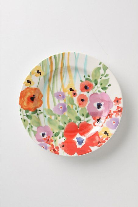 "Verdant Acres Salad plate  #973002  8.25"" diameter. Multi. $12  http://www.anthropologie.com/anthro/catalog/productdetail.jsp?id=973001&catId=HOME-TABLETOP-DINNERWARE&pushId=HOME-TABLETOP-DINNERWARE&popId=HOME&navAction=top&navCount=1116&color=mul&isProduct=true&fromCategoryPage=true&subCategoryId=HOME-DINNER-COLLECTIONS"
