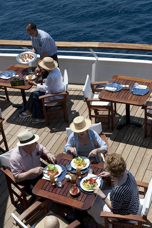 The Terrace Café Is Ideal Place To Enjoy Lunch Aboard Aegean Odyssey On A Warm Lunchesterracemaking Memoriesfrescothe