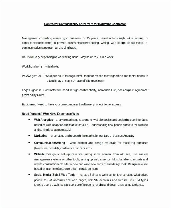 Marketing Consultant Contract Template Lovely Social Media